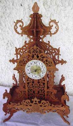 Louis XVI clock, scroll saw fretwork pattern
