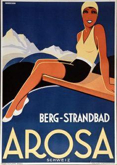 Mountain - Beach,  Arosa - Switzerland (1933) Artist : Johannes Handschin (1899–1948)