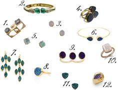 Druzy jewelry - No Rebecca for a Year
