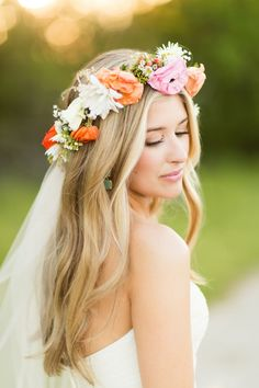 orange and pink flower crown and wavy wedding hair