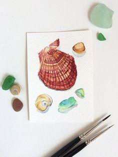 Sea shells & sea glass - original watercolour ACEO painting by Zoya Makarova