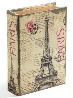 Caixa livro com tema em vintage de Paris.
