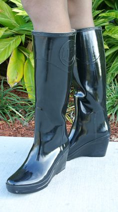 Susana Fernandez | A Key to the Armoire shiny black wedge heel rubber rain boots
