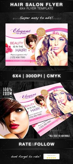 Modern Salon Rack Card - Flyer Template Flyer template, Template - hair salon flyer template