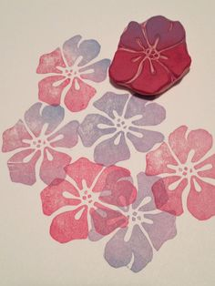 New Hand Carved Hawaii Flower Rubber Stamp for Card and Scrapbooking