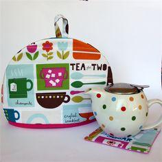 Tea Cosy with matching teapot mat/coaster - Retro Tea Time - monkey & bee
