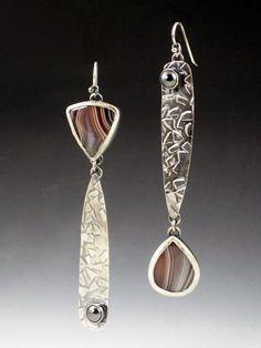 Asymmetrical Botswana Agate Earrings by MicheleGradyDesigns