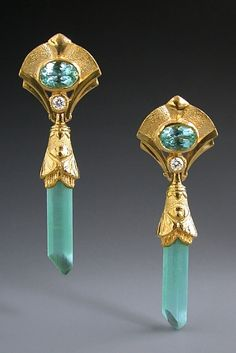 22K Gold, Facted Tourmaline, Diamond and Tourmaline Crystal Earrings by Athenae Inc  ~  x