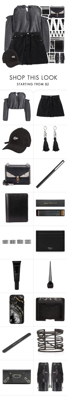 """""""Lucky One"""" by ritaof ❤ liked on Polyvore featuring Fendi, Sloane Stationery, Maison Margiela, Mulberry, Allies of Skin, Christian Louboutin, Casetify, NARS Cosmetics, Nancy Newberg and Balenciaga"""