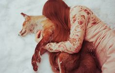 fox cuddle!! I was literally *just* doing this with my dog. this fox looks almost equally snuggly!