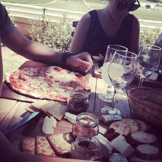 Pizza, cheese platters and wine...what a way to dine!