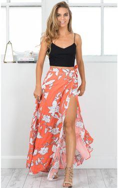 Cali maxi skirt in orange floral