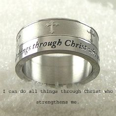 Men or Womens Stainless Steel Ring Cross Ring with Bible Verse. I Can Do All Things through Christ Who Strengthens Me. Size 11 DIV001 http://smile.amazon.com/dp/B00BJLH9QW/ref=cm_sw_r_pi_dp_PPm8tb1970K2N