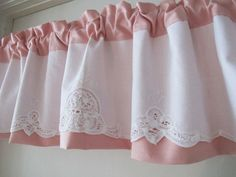 Pink Denim with Battenburg Valance Upcycle Linens by BettyandBabs, $45.00