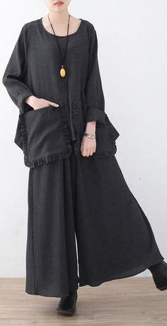 women new casual wrinkled cotton two pieces plus size tops and wide leg pants