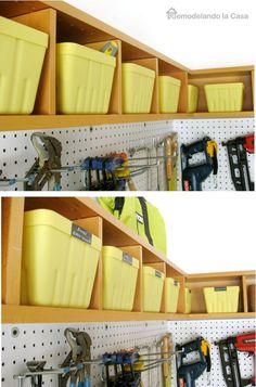 CD holder turned storage shelves in the garage. Love it!