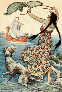 'The black-browed maid stood upon the bank as the red ship . . . sailed away from Novgorod'. Frank Cheyne Pape illustration from 'The Russian Story Book' (1916).