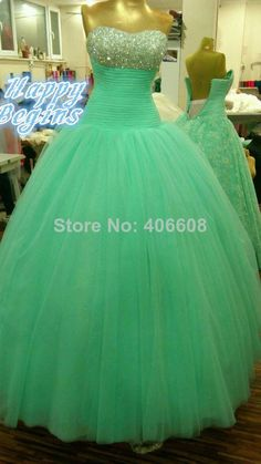 2014 New Arrival Elegant Sweetheart Tulle Beaded Long Ball Gown Prom Dresses $189.00