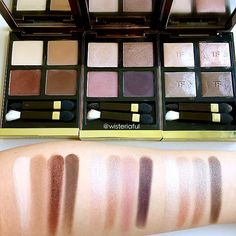 Swatches of Tom Ford eyeshadow quad in (L-R) Cocoa Mirage, Orchid Haze and Nude Dip. These are the palettes I often reach out to... They are so beautiful and easy to wear for day and night. Creamy smooth texture and long lasting on me. When I feel like having a matte shades, I'll go for Cocoa Mirage. If I want a bit of shimmer or sheen I'll go for the other two which is also my kinda office friendly shades