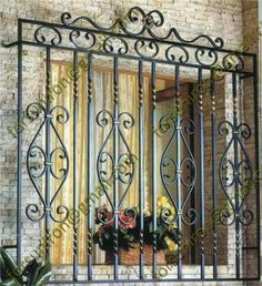 2014 China Manufacture Wrought Iron Balcony Railing Design / Iron Grill Design for Balcony for Home Iron Window Grill, Window Grill Design Modern, Window Security Bars, Security Gates, Window Bars, Balcony Railing Design, Iron Gate Design, Iron Windows, Metal Windows