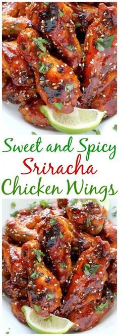 Sweet and Spicy Sriracha Baked Chicken Wings - Baker by Natu. Sweet and Spicy Sriracha Baked Chicken Wings – Baked, not fried, these chicken wings can be ready in just one hour! Baked Chicken Wings, Chicken Wing Recipes, Recipe Chicken, Roast Chicken, Roast Beef, Sauce For Chicken Wings, Chinese Fried Chicken Wings, Asian Chicken Wings, Grilled Chicken Breast Recipes