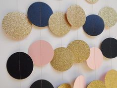 Gold Glitter, Blush Pink and Navy Blue Paper Garland, Baby Shower Decor, Bridal Shower, Wedding Reception Decoration by ThePartyHaven on Etsy https://www.etsy.com/listing/463155873/gold-glitter-blush-pink-and-navy-blue