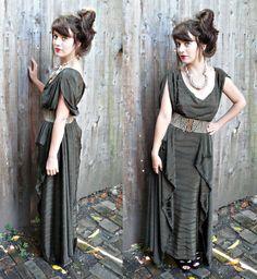 handmade olive green stripey boho maxi dress by princesstoadie, $60.00