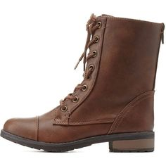 Charlotte Russe Brown Bamboo Lace-Up Combat Boots by Bamboo at... found on Polyvore