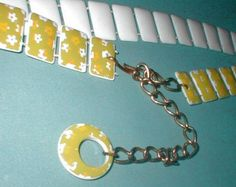 Vintage 60's Mod Belt - Plastic Pillow with  Flower Power Designs - and Gold Dangle Chain