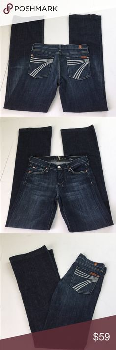 7 for all mankind Dojo Flare Jeans, size 25 7 for all mankind Dojo Flare Jeans in size 25. Flat lay measure of the waist is is approximately 14.25. Rise is approximately 7.75, inseam is approximately 34, and leg opening is approximately 10.25. Features factory fading, whiskering and grinding. In overall very good condition. Made from 98% cotton and 2% elastane. Please look at all photos and ask if you have any questions. 7 For All Mankind Jeans Flare & Wide Leg