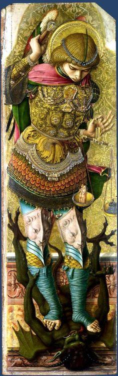 Saint Michael / San Miguel Arcángel //circa 1476 // Carlo Crivelli // © The National Gallery,London Saint Michael, St. Michael, Angels Among Us, Angels And Demons, Italian Renaissance, Renaissance Art, Religion, National Gallery, Archangel Michael