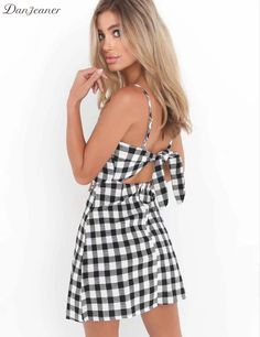 >> Click to Buy << Danjeaner Casual Sleeveless Linen Plaid Beach Dress Sexy Women Hollow Out Bow Mini Party Dress Slim Fit Plus Size Vestidos Mujer #Affiliate