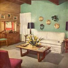 A mid century modern house with modern and traditional furniture - from Better Homes and Gardens, October 1949