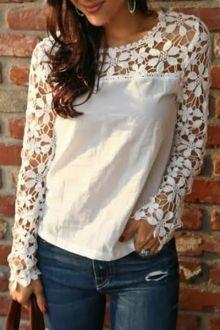Crochet Flower Spliced Long Sleeve Blouse