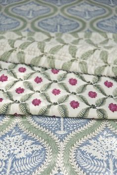 MALADVIPA BED STORY 'Maladvipa' means a garland of islands in Sanskrit. Inspired by the island of Maldives we designed a bed story of covers, quilts, 'dohars,' shams & sheers to create a tropical paradise at home. Hand block printed cotton in ivory, misty blue and leafy green colours. #BedStory