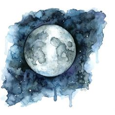 Watercolor Moon Painting Print titled by TheColorfulCatStudio Moon Painting, Painting Prints, Painting & Drawing, Matte Painting, Moon Drawing, Star Painting, Galaxy Painting, Texture Painting, Art Prints