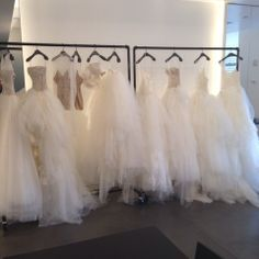 Swimming in a sea of ball gowns from Vera Wang's spring 2015 collection  #bridalmarket #bridalfashionweek #verawang | www.instagram.com/theknot
