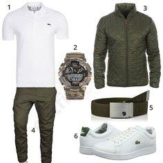 Herren-Style mit weißem Ralph Lauren Shirt, Blend Stanley Übergangsjacke, grüner A. Salvarini Chino, Fjällräven Gürtel und Lacoste Sneakern.