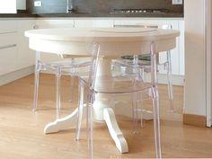 Tavolo rotondo e allungabile in legno Scandola.
