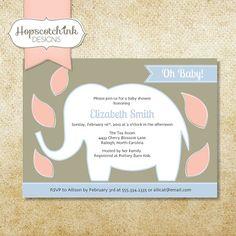 Elephant Safari | Baby Shower Invitation | by hopscotchink on Etsy, $18.00 | Hopscotch Ink Designs