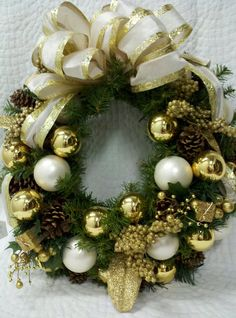 "Traditional Gold & White Christmas wreath. approx. 20"" Dia www.kathysholiday.com"