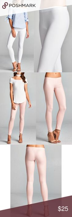 DEBORAH slick leggings - WHITE Matte finish, Stretchy faux leather leggings. Super sexy & flattering. MADE IN USA.  AVAILABLE IN BLUSH, WHITE AND BLACK  NO TRADE, PRICE FIRM Bellanblue Pants Leggings