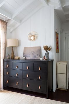 An IKEA Hemnes dresser gets a facelift with leather drawer pulls from Etsy Steele Canvas Caddie Hamper
