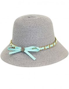 Dahlia Women's Summer Sun Hat - Interlaced Chain Bow Straw Bucket Hat