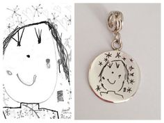 Children grow up so fast, but here is a way you can freeze a little moment in time. Send me your childs drawing and I will convert it into a lasting memento, one you can wear always.  This is a sterling silver handmade pendant charm for a charm bracelet but can also be used on a chain as a pendant. Handmade by me, using traditional methods, right here in my studio in the rural french countryside. SPECIFICATIONS: Each piece is uniquely created by hand, pierced from no less than 1mm thick…
