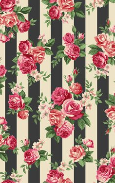 Rosie's Summer collection by STOFfabrics, roses on stripes