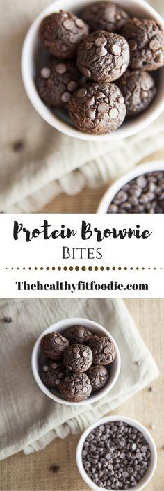 Dark Chocolate Protein Brownie Bites. Easy no bake energy bites. http://www.thehealthyfitfoodie.com/protein-brownie-bites/