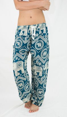 a051df4eb6e0b Elephant Pants teal Elepants Thai Harem Pants Yoga Pants Elastic Drawstring  Waist Super Comfy Comfortable Travel
