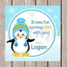 Personalized Winter ONEderland Penguin Favor Tags by ciaobambino, $6.00