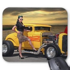 Graffiti Sunset Hot Rod Ford Coupe Car Girl Mouse Pad - girl gifts special unique diy gift idea
